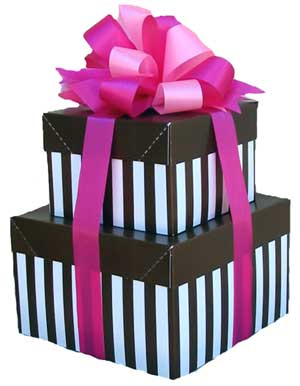 Elegant gift Stack - Striped Gift Box stack with choice of fillings