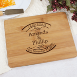 Engraved cutting board gift for couple
