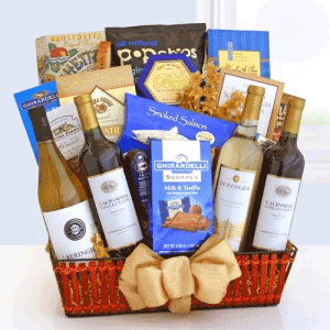 4 bottles of California wine with gourmet foods in a gift basket