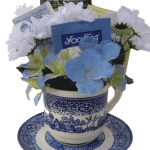 Blue Willow tea cup gift arrangment