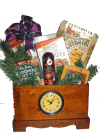 time to celebrate wooden trunk with clock and gourmet food