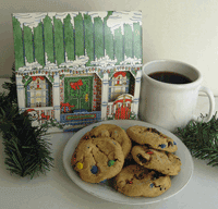 holiday house with cookies and cocoa