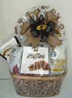 Coffee, cookies, and chocolate truffles gift basket