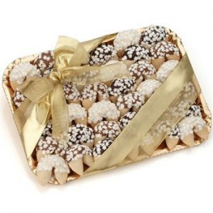 Gold tray with 36 decorated fortune cookies