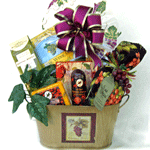 Wine themed gourmet gift basket