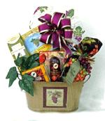 Wine themed gourmet gift basket