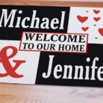 Personalized door mat for a special couple