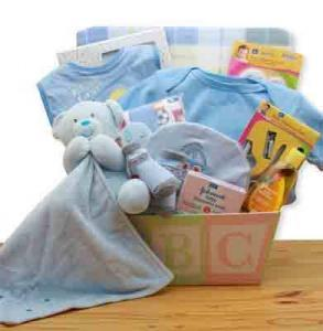 New baby gift basket for boy in blue