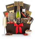 Champagne and chocolates gift basket