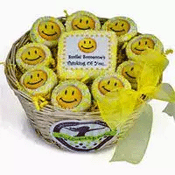 Basket of smiley face cookies