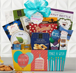 happy birthday themed gift basket