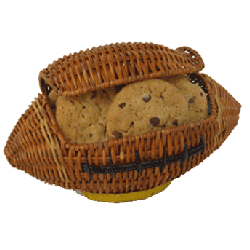 Wicker football filled with cookies