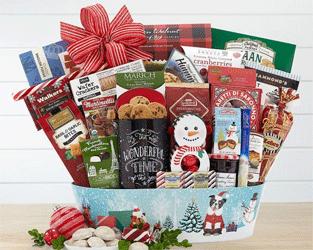 Holiday gourmet gift basket celebration