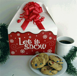 Let it Snow Holiday gift box with cookies