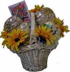 cookies and sunflowers gift basket