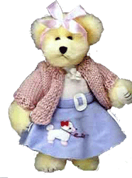 bear dressed in poodle skirt and sweater