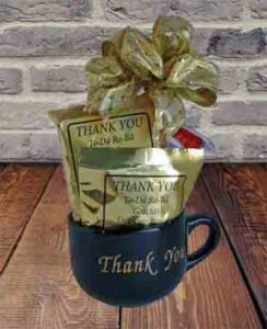 Thank you coffee mug filled with coffees